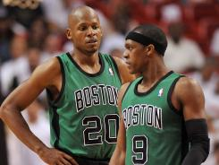 Ray Allen, left, one of the Boston Celtics' Big Three, says the team now expects Rajon Rondo, right, to be the difference-maker. Will that be enough to carry Boston vs. the Miami Heat in the Eastern Conference finals?