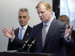 NFL Commissioner Roger Goodell addresses reporters in Chicago on Thursday.