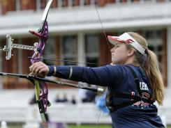 Miranda Leek competes during the women's team event in preparation for the 2012 London Olympics at Lord's Cricket Ground in London on Oct. 5, 2011.