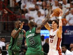 Mike Miller, No. 13, with the ball, is one of the Miami Heat bench players making life easier for Dwyane Wade and LeBron James against the Boston Celtics in the Eastern Conference finals.