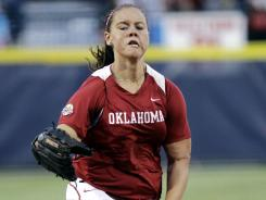 Oklahoma's Keilani Ricketts pitches against California in the seventh inning of an NCAA Women's College World Series tournament at Oklahoma City on Friday.