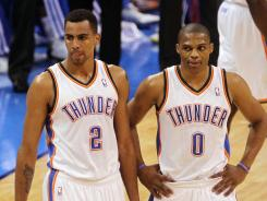 Oklahoma City Thunder point guard Russell Westbrook, right, has nine assists in a Game 3 win over the Spurs.