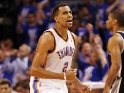 Thunder guard Thabo Sefolosha hounded Spurs guard Tony Parker on the defensive end in Oklahoma City's Game 3 rout.
