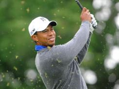 Tiger Woods hits his tee shot on the third hole during the second round of the Memorial Tournament at Muirfield Village Golf Club.