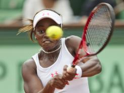 June 1, 2012; Paris, FRANCE; Sloane Stephens (USA) during her match against Mathilde Johansson (FRA) on day six of the 2012 French Open at Roland Garros. Mandatory Credit: Susan Mullane-US PRESSWIRE