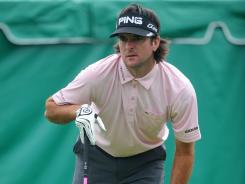 Bubba Watson watches his tee shot o the first hole during the second round of the Memorial Tournament at Muirfield Village Golf Club.
