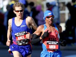 Meb Keflezighi and Ryan Hall, shown here in the U.S. Marathon Olympic Trials in Houston back in January, will compete in the Rock 'n' Roll Half Marathon on Sunday in preparation for the London Olympics.