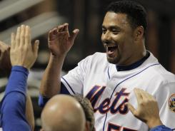 Mets pitcher Johan Santana celebrates after his no-hitter. He says his shoulder is OK.