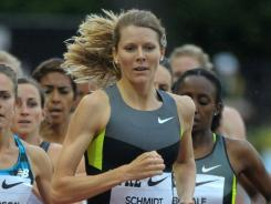 Alice Schmidt leads the field on her way to winning the 1,500 meters at the Prefontaine Classic.