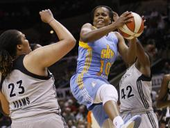 Chicago Sky guard Epiphanny Prince (10) grabs a rebound against the San Antonio Silver Stars on May 30. Prince poured in a career-high 33 points to lift the Sky to a 94-92 overtime win against the Atlanta Dream on Saturday.