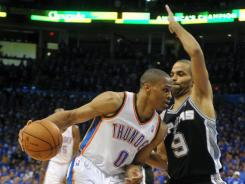 Russell Westbrook, left, and Tony Parker, right, are not the only big matchups to watch in Game 4 tonight of the Western Conference finals between the host Oklahoma City Thunder and the San Antonio Spurs, who lead the series 2-1.