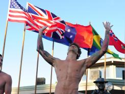 Gold medalist Anthony Ervin (USA), right, celebrates in front of silver medalist William Copeland (USA), left, after the men's 50-meter freestyle finals in the Santa Clara.