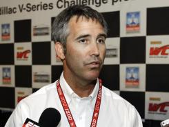 IndyCar CEO Randy Bernard addresses reporters Sunday before the Detroit Grand Prix at Belle Isle in Detroit.