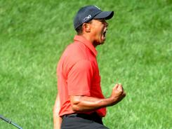 For one Sunday at least, the fist pumps and Sunday red were back for Tiger Woods.