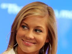 Shawn Johnson answers a question during a news conference May 8 in New York.