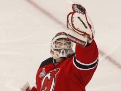 New Jersey Devils goalie Martin Brodeur had a flashy glove hand during Game 2.