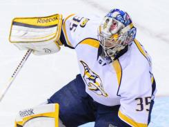 Nashville Predators goalie Pekka Rinne led the NHL in wins this season.