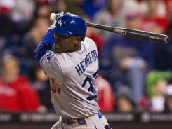Los Angeles center fielder Elian Herrera hit an RBI single in the top of the ninth inning to put the Dodgers ahead of the Phillies 4-3.