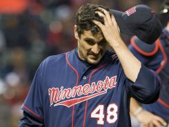 Carl Pavano of the Twins has struggled this season, going 2-5 with a 6.00 ERA in his 11 starts.