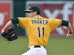 Oakland rookie Jarrod Parker came within six outs of throwing a no-hitter Monday night.