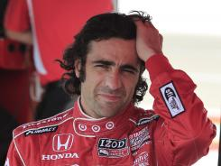 Dario Franchitti pauses in his pit box at the IndyCar open test at Texas Motor Speedway on May 7. Franchitti has expressed trepidation about Saturday's race at the high-speed track.