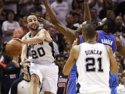 San Antonio guard Manu Ginobili, No. 20, doesn't want to see the end of the era of the Spurs' Big 3 just yet.