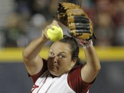 Alabama's Jackie Traina gave up three home runs, but rallied to strike out six, including the last batter of the game.