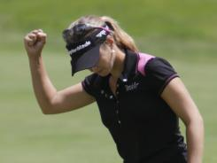 Beatriz Recari celebrates her birdie on No. 7 Thursday on her way to a first-round 69 and a share of the lead in the Wegmans LPGA Championship at Locust Hill Country Club in Pittsford, N.Y.