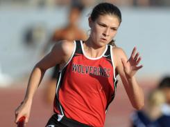 Amy Weissenbach runs the anchor leg on the 4x400-meter relay. She won her third consecutive California 800-meter title last week.
