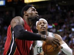 Boston forward Paul Pierce, No. 34, must do a better job defending Miami's LeBron James for the Celtics to advance to the NBA Finals.