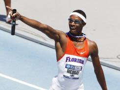 Tony McQuay clinched the Florida men's first outdoor national title by anchoring a Gators win in the 1,600-meter relay, the final event of the meet.