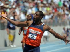 Andrew Riley of Illinois celebrates after winning the 110-meter hurdles in the 2012 NCAA Track & Field Championships. He also won the 100-meter dash.