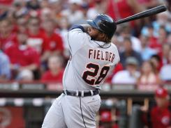 Detroit Tigers first baseman Prince Fielder hit a game-winning single in the eighth inning against the Cincinnati Reds at Great American Ball Park.