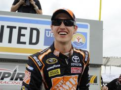 Joey Logano won the pole for Sunday's Pocono 400 with a record-setting qualifying lap of 179.598 mph. Of 44 drivers, 36 topped the previous mark of 172.533 mph set by Kasey Kahne in 2004.
