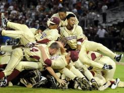 The Florida State Seminoles celebrate their super regional victory over the Stanford Cardinal as they advance to the College World Series.