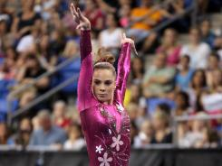 Maroney competes on the floor exercise during day one of the 2012 Visa Championships in St. Louis on Friday.