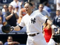 Russell Martin celebrates his walk-off home run that gave the Yankees a sweep of the crosstown rival Mets.