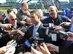 "Cubs president of baseball operations Theo Epstein, shown April 5, says, ""We're just trying to build up talent. We need core players."""