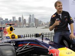 Sebastian Vettel was in Weehawken, N.J., on Monday with the New York City skyline in the background to promote next year's Grand Prix of America race.