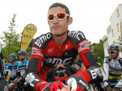BMC's Georges Hincapie waits at the start of the third stage of the 64th Dauphine cycling race in Givors, central France, on Wednesday.