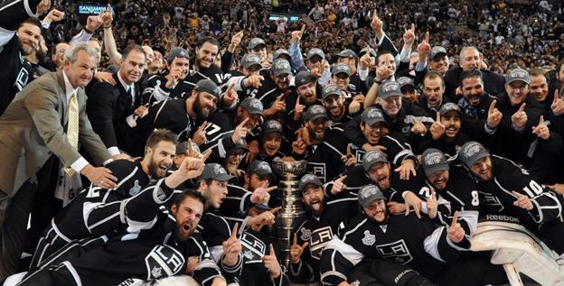 Kings players and coaches celebrate the first Stanley Cup title in team history.