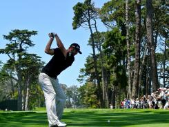Dustin Johnson of the USA, playing a practice round this week, is among the longest hitters in golf.