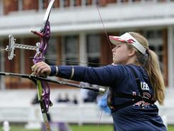 Miranda Leek competes during the team event in preparation for the 2012 London Olympics at Lord's Cricket Ground in London on Oct. 5, 2011.