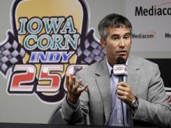 IndyCar CEO Randy Bernard speaks at Iowa Speedway on Tuesday.