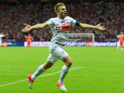 Jakub Blaszczykowski celebrates after scoring for Poland in Tuesday against Russia.