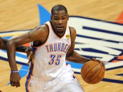 Kevin Durant played 46 minutes and scored a game-high 36 points, including 17 in the fourth quarter to help the Thunder take a 1-0 lead in the NBA Finals.