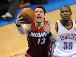 Mike Miller (13)was one of only three reserves Heat coach Erik Spoelstra called upon in the Game 1 loss to the Thunder.
