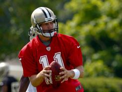 Quarterback Luke McCown participates with the Saints on a tryout basis during a minicamp session at the team's practice facility. McCown played in four games last season with the Jaguars.