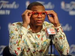 """I've been wearing glasses since I've been in the league,"" Thunder guard Russell Westbrook says. ""I think everybody else just started wearing them now."""
