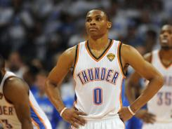 Thunder point guard Russell Westbrook shot 10-for-26 Thursday in Game 2 of the NBA Finals.